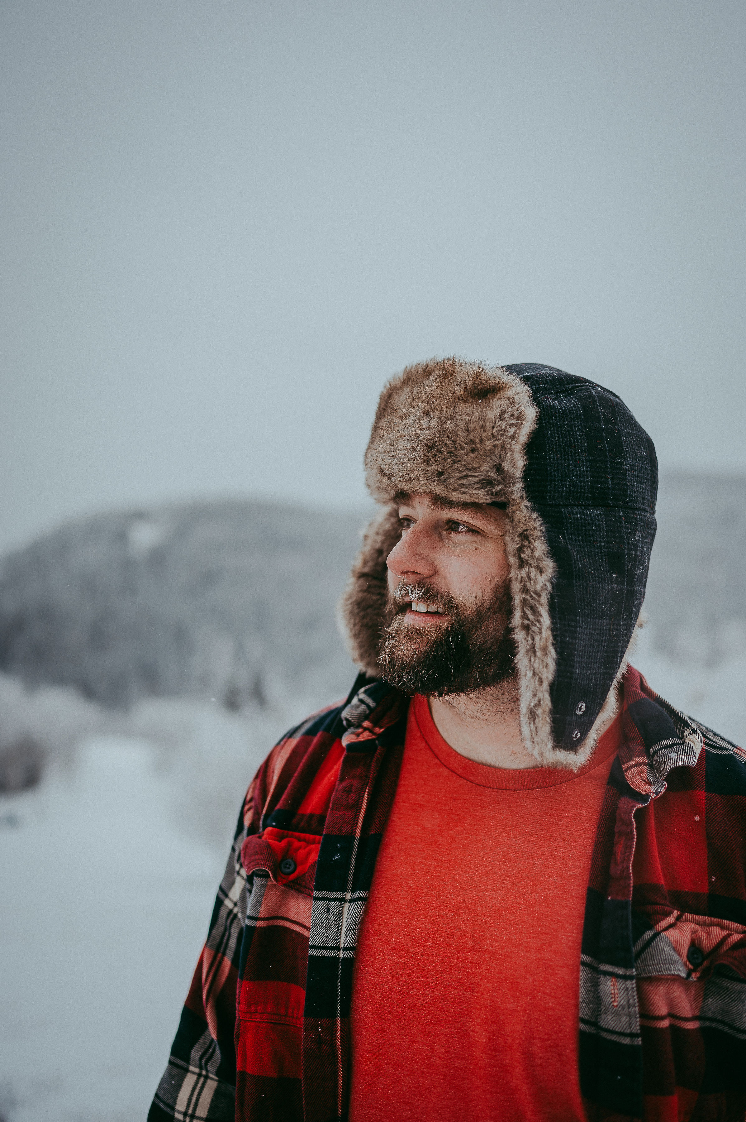A young man enjoys the winter