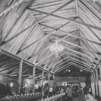 A beautiful barn set up for a long table dinner in Olds Alberta