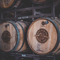 Two gin barrels at the Eau Claire distillery in Calgary
